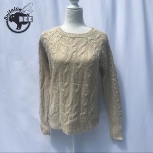 Ann Taylor glittery gold lambs wool cable knit